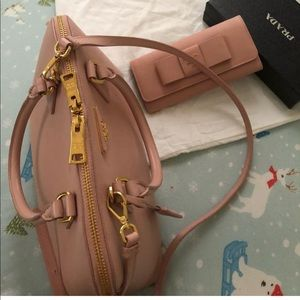Prada saffiano tote with wallet